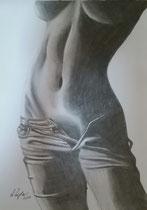 """""""Jeans"""", Bleistifzeichnung im silbernen Rahmen mit schwarzem Passepartout, 41 x 31 cm,  150,-€"""