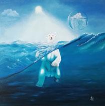 """""""Klimawandel"""", Öl auf Leinwand, 100 x 100 cm, 700,-€"""