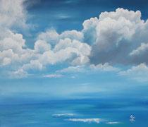 """""""Sommerhimmel"""", Öl auf Leinwand im weißen Schattenfugenrahmen, 54 x 74 cm, 400,-€"""