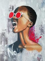 """""""No"""" (Fotovorlage Tiago Chediak), Acryl auf Leinwand, 80 x 60 cm  in Privatbesitz"""