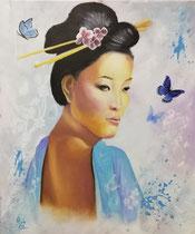 """Sachiko"" (= Kind des Glücks), Acryl u.Öl auf Leinwand im Schattenfugenrahmen, 50 x 60 cm, 600,-€"