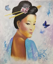 """Sachiko"" (= Kind des Glücks), Acryl u.Öl auf Leinwand im Schattenfugenrahmen, 50 x 60 cm"
