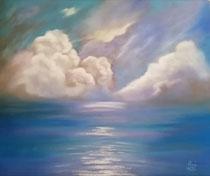 """""""Cumulus"""", Pastellkreide im silbernen Rahmen, 52 x 62 cm,  250,-€"""