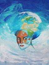 """""""Wonderful women in this World"""", Acryl auf Leinwand 80 x 60 cm im weißen Schattenfugenrahmen"""