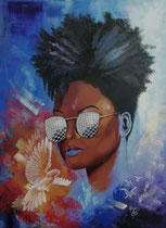 """""""No to racism"""", Acryl auf Leinwand im, 80 x 60 cm"""