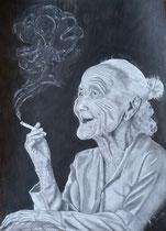 """""""Die 100 Jährige"""", Bleistiftzeichnung im silbernen Rahmen mit weißem Passepartout, 53 x 43 cm,  400,-€"""