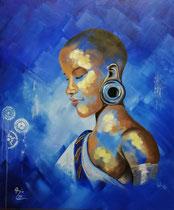 """""""Nubia"""" (starke schwarze Frau), Acryl auf Leinwand im Schattenfugenrahmen, 50 x 60 cm"""