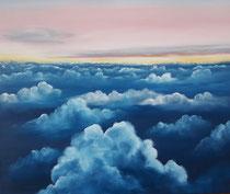 """""""Flugsicht"""", Öl auf Leinwand im weißen Schattenfugenrahmen, 54 x 74 cm, 400,-€"""