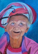 """Lebensfroh"", Pastellkreide im silbernen Rahmen,        73 x 53 cm,  650,- €"