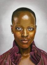 """UNVERKÄUFLICH """"Florence Kasumba"""" mit Genehmigung d. Management, des NDR, Christine Schroeder Fotografie, 50 x 70 cm Pastellkreide auf Pastelmat"""