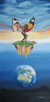 """""""Meiner Seele wachsen Flügel"""", Öl auf Leinwand, 140 x 70 cm,  1.000,-€"""