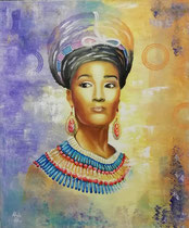 """Amunet"" (=Göttin des Geheimnisses), Acryl u.Öl auf Leinwand im Schattenfugenrahmen, 50 x 60 cm,   600,-€"