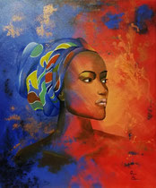 """""""Maleah"""" (bedeutet """"frei""""), Acryl auf Leinwand im Schattenfugenrahmen , 50 x 60 cm  600,-€"""
