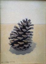 Piña. Óleo sobre lienzo, 27 x 14 cm