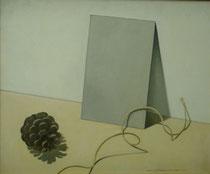 Bodegón con piña, cuerda y cartón. Óleo sobre lienzo, 46 x 55 cm.