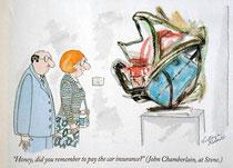 """""""Cariño, ¿te acordaste de pagar el seguro del coche?"""" -John Chamberlain en la Stone Gallery-  (Victoria Roberts en """"The New Yorker"""" 17-11-2003)"""
