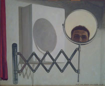 Autorretrato con espejo redondo. Óleo sobre tabla entelada, 38 x 46 cm.