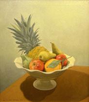 Frutero con piña. Óleo sobre lienzo, 55 x 46 cm.