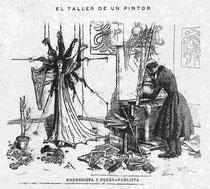 El taller de un pintor. Modernista y prerrafaelista.