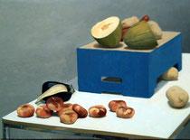 Bodegón con caja azul. Óleo sobre lienzo, 50 x 81 cm.