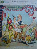 """Una ilustración del gran dibujante y ceramista portugués Rafael Bordallo Pinheiro, en """"A Parodia"""" (1900): Arte novísimo / La anilina al servicio del cerdo / SALCHICHERÍA MODELO / ATELIER DE PINTURA / NATURALEZA MUERTA PARA QUITAR DE EN MEDIO A LOS VIVOS /"""