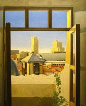 Vista de Madrid desde la Plaza de Santiago. Óleo sobre lienzo, 100 x 81cm,