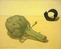 Bodegón con alcachofa y tira de cartulina. Óleo sobre lienzo, 33 x 41 cm.