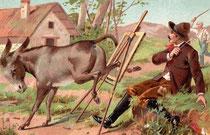 Otra ilustración decimonónica relativa a los peligros del pintor en ambientes rústicos.