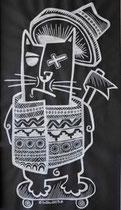 Nils-Posca blanc sur kraft noir-Galerie Gabel-street- Biot-côte d'Azur-France
