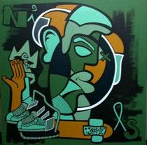 Nils Inne-acrylique sur toile-80X80cm GABEL-galerie d'art côte d'Azur-BIOT