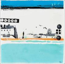 """Edouard BUZON -""""A new day""""-40X40cm-technique mixte (peinture, pigments, aérosol, vernis sur panneau de bois-Galerie Gabel-Biot-France"""