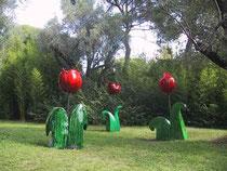 Jacky Coville-Tulipes géantes-grès émaillé pièce unique-galerie Gabel-Biot côte d'Azur-