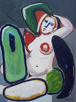 """Thierry Pelletier acrylique sur toile-""""Bain turc""""-132X98cm -Galerie d'art Biot"""