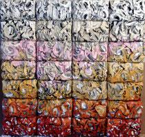 """Thierry Michelet dit Joseph- """"Je vous salis ma rue""""  28 compressions de papier tagué sur support bois. 125X116cm-galerie Gabel-Biot"""