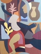 Charlotte Janis-Acrylique sur papier épais tendu sur chassis - 60X80cm- Galerie d'art-Côte d'Azur-Galerie Gabel