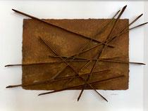 René GALASSI- Rouille et calicots 86X66cm papier Moulin de Larroque en bas relief-pigments-Galerie Gabel-Biot-côte d'Azur-Nice