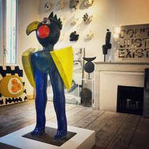 Jacky Coville Oiseau 120cm,  oeuvre en grès émaillé-Galerie Gabel Biot