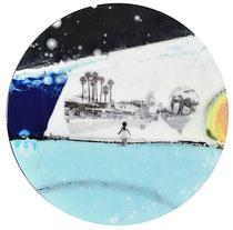 """Edouard BUZON -""""Enjoy""""-Diam: 50cm-technique mixte (peinture, pigments, aérosol, vernis sur panneau de bois-Galerie Gabel-Biot-France"""