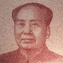 """Thierry Michelet dit Joseph: """"Mao"""" portait réalisé en Yuans pliés, marouflés. 180X180cm.galerie Gabel-Biot -Côte d'Azur"""