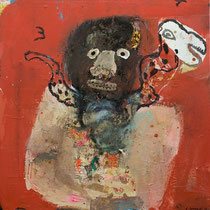 "Lyle Carbajal -Charms-31X31"" mixed media on wood panel-Galerie Gabel-french riviera"