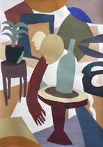 Charlotte Janis- Acrylique sur papier épais- Galerie d'art-Côte d'Azur-Galerie Gabel