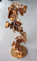 sculpture-bougeoir en bronze de Philippe Berry, accumulation de papillons.15/25_38,5cm