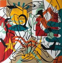 Nils Inne 90X90cm acrylique sur toile-Galerie Gabel Biot