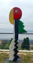 Jacky Coville-Perroquet- 165cm grès émaillé-Galerie Gabel Biot