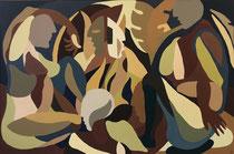 """Charlotte Janis-""""alimente le""""-Gouache et acrylique sur toile- 146X97cm-galerie Gabel"""