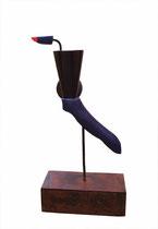Thierry Pelletier-Bronze -bois polychrome-acier- pièce unique-H: 42cm -Galerie Gabel- France