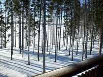 Blick vom Balkon in die schneebedeckte Weite des Päijänne Sees.