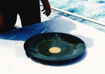 Die Bronzeschale mit der Goldscheibe.