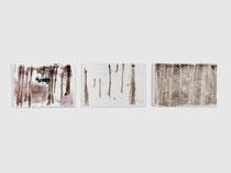 Wald, dreiteilig, 2012, series of 3 monotypes, 21 x 30 cm, on paper on wood