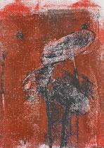 Ranunkeln rot, 2015, 30 x 21 cm, printing ink on paper on wood